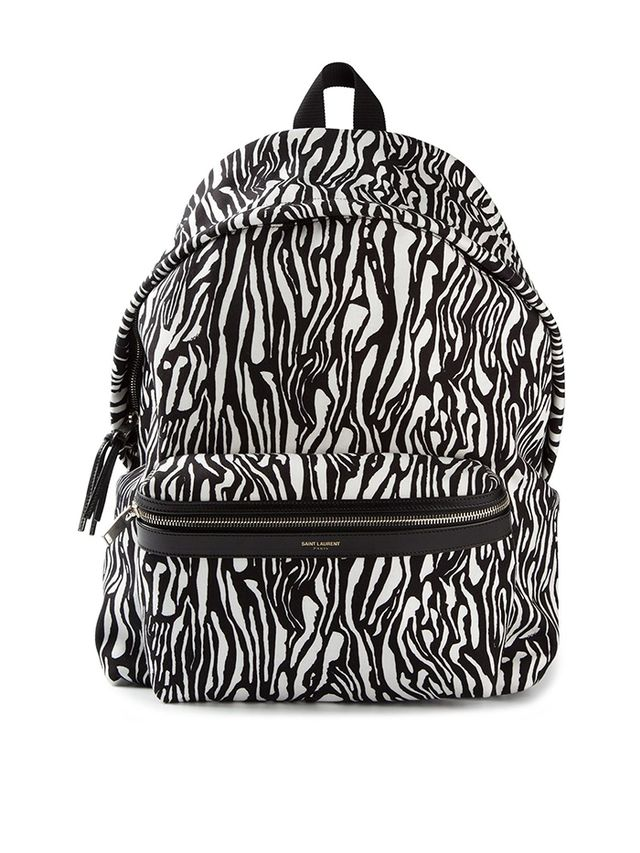 Saint Laurent Hunter Zebra-Print Backpack