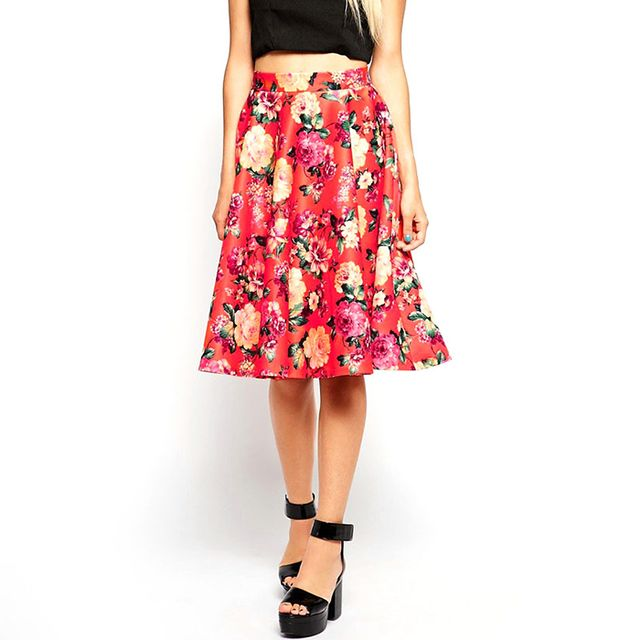 ASOS Floral Midi Skirt