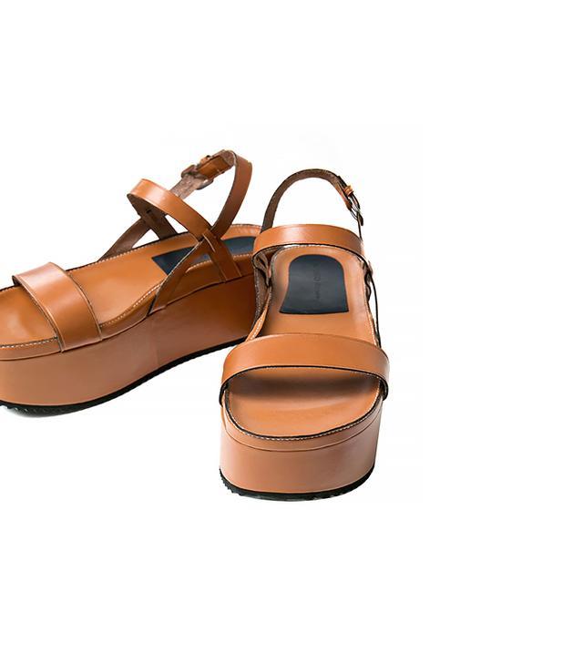 Mango Leather Platform Sandals