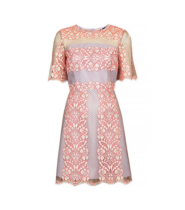 Topshop Fluro Lace Overlay Shift Dress