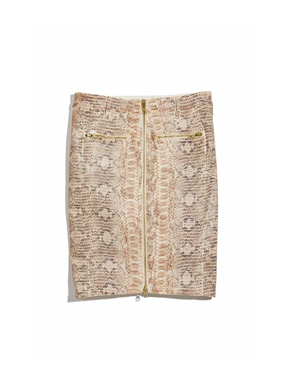 Guess Longette Snake-Embossed Moto Skirt