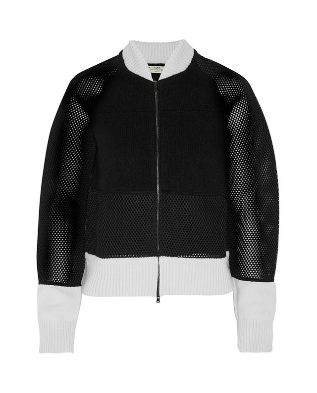 Fendi Mesh-Paneled Bomber Jacket