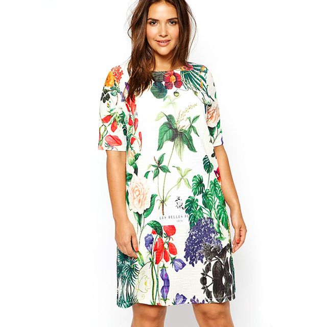 ASOS Curve T-Shirt Dress In Botanical Floral Print