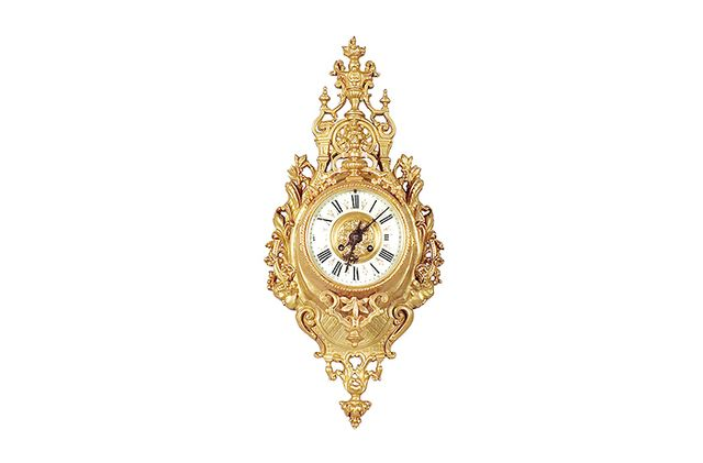 Castle Louis XVI Style Gold Plated Wall Clock