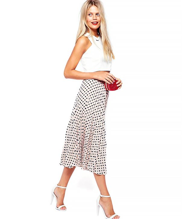 ASOS Exclusive Spot Print Pleated Midi Skirt
