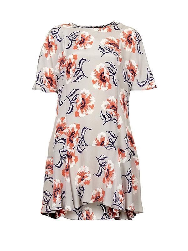 Topshop Boutique Floral Print Silk Shift Dress
