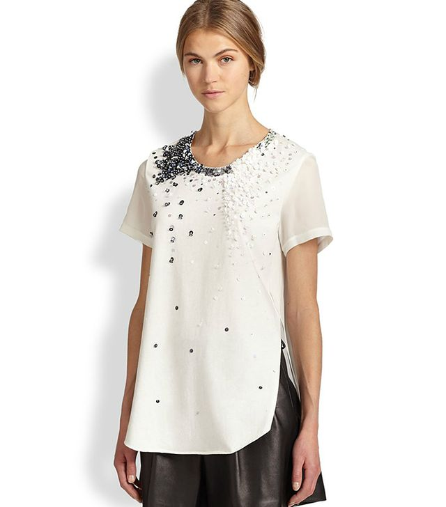 3.1 Phillip Lim Sequin Side-Seam Cotton & Silk Top