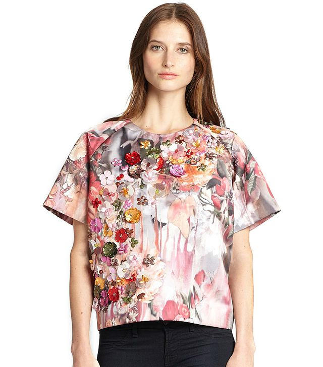 MSGM Appliquéd Floral Top