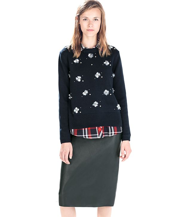 Zara Sweater With Floral Appliques