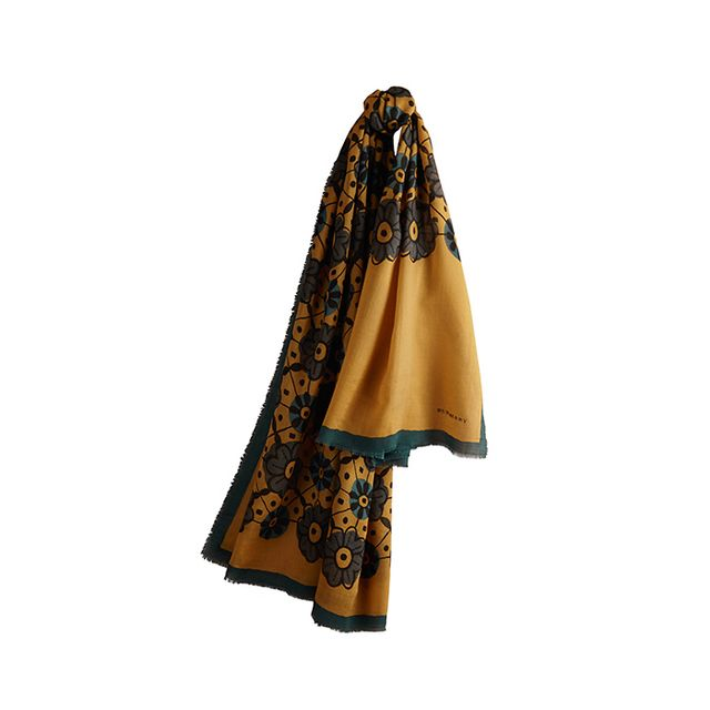 Burberry Prorsum Floral Wool Silk Scarf in Burnt Yellow