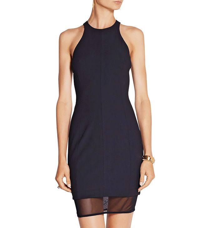 Elizabeth and James Parker Mesh-Paneled Stretch Ponte Mini Dress
