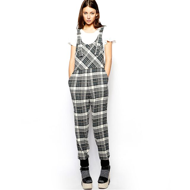 See by Chloé Plaid Overalls in Crinkle Wool
