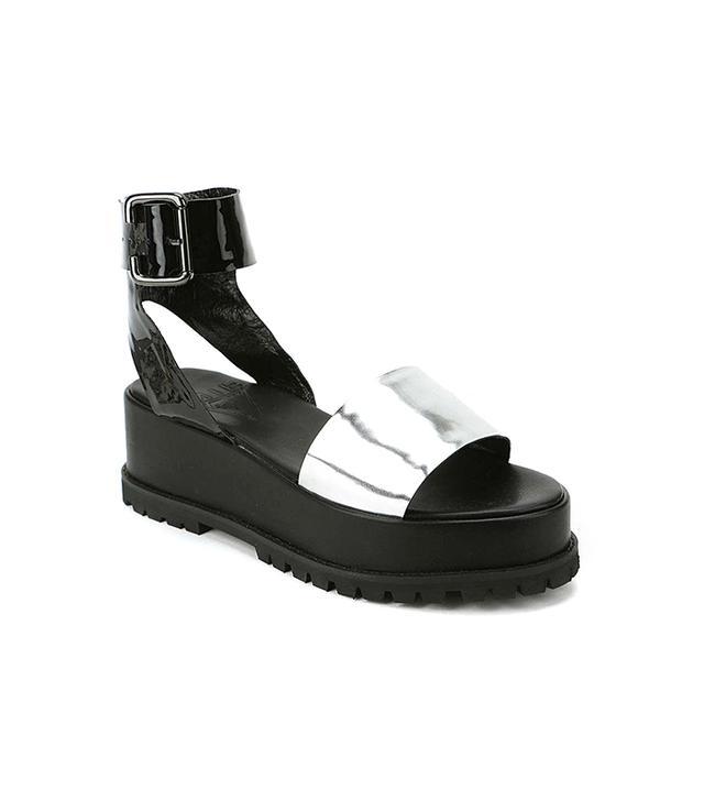 UNIF Seeker Metallic Ankle-Wrap Platform Sandal