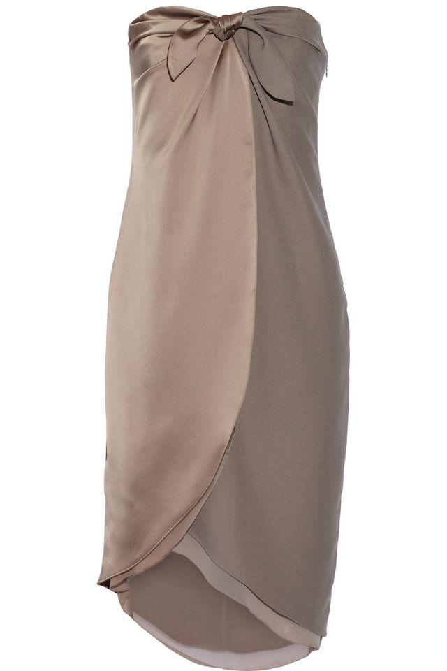 Halston Heritage Wrap-Effect Satin and Crepe Dress