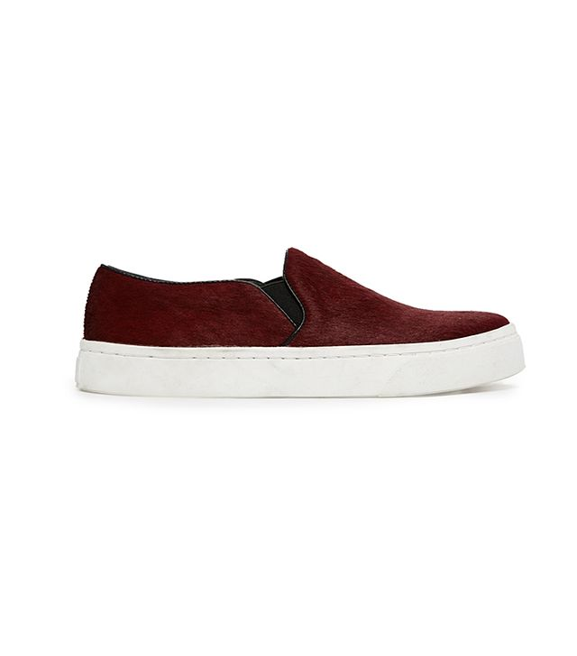 River Island Burgundy Leather Pony Effect Slip On Sneakers