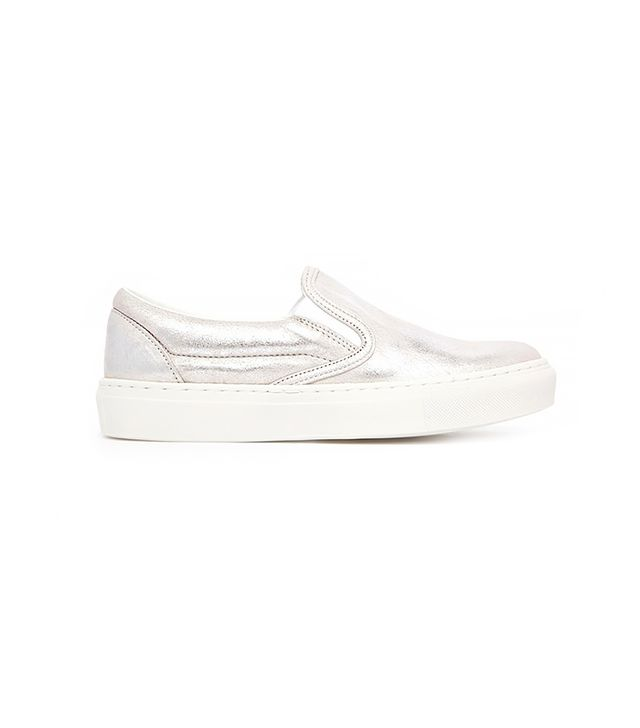 Warehouse Metallic Leather Slip-On Sneakers