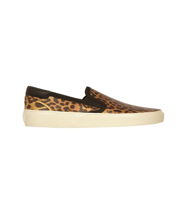 Saint Laurent Leopard-Print Glossed-Leather Slip-On Sneakers