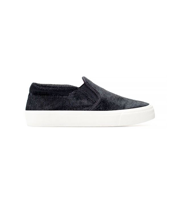 Zara Furry Slip-On Sneakers