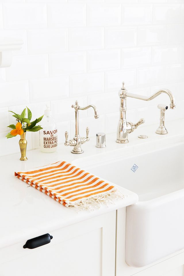 The Little Market Orange Striped Hand Towel
