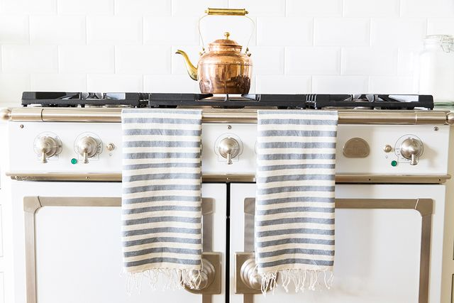 The Little Market Gray Striped Hand Towel
