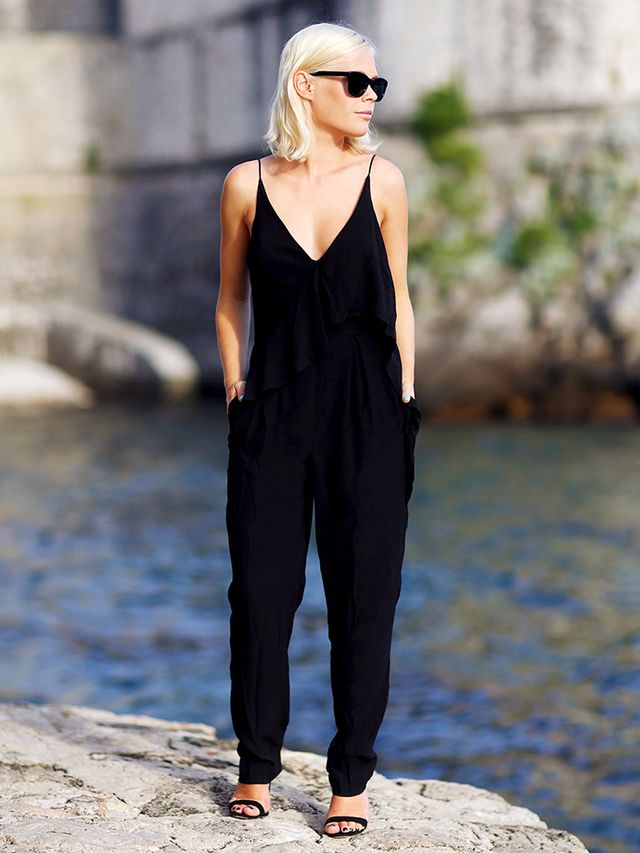 Outfit Idea 4: Sleek Jumpsuit + Strappy Heels