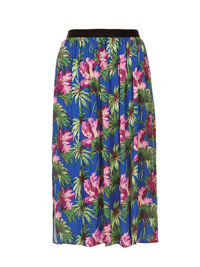 Topshop Hibiscus Spliced Midi Skirt