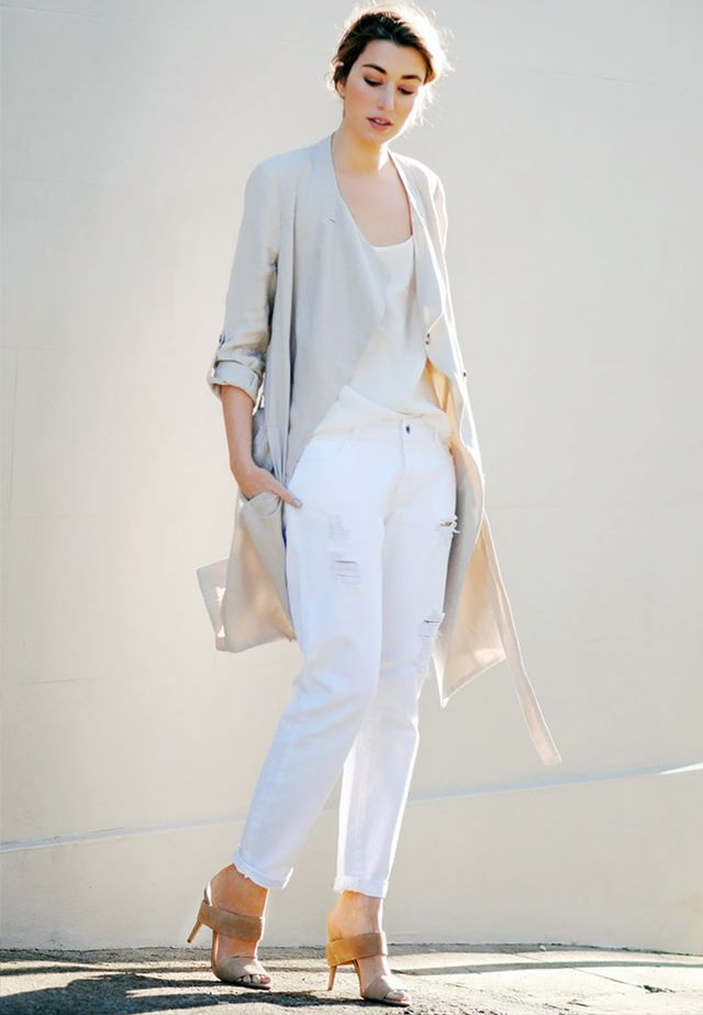 Outfit Idea 11: Trench Coat + Camisole + White Jeans