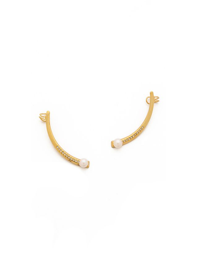 Vita Fede Half Moon Imitation Pearl Earrings
