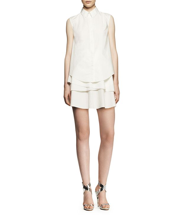 10 Crosby Derek Lam Sleeveless Tiered Ruffle Shirtdress