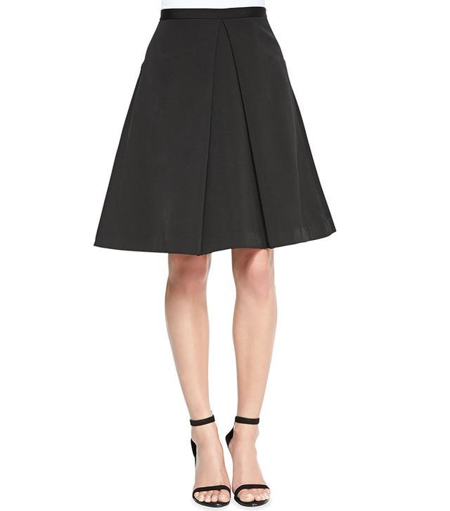 Tibi Katia Faille Pleated A-Line Skirt