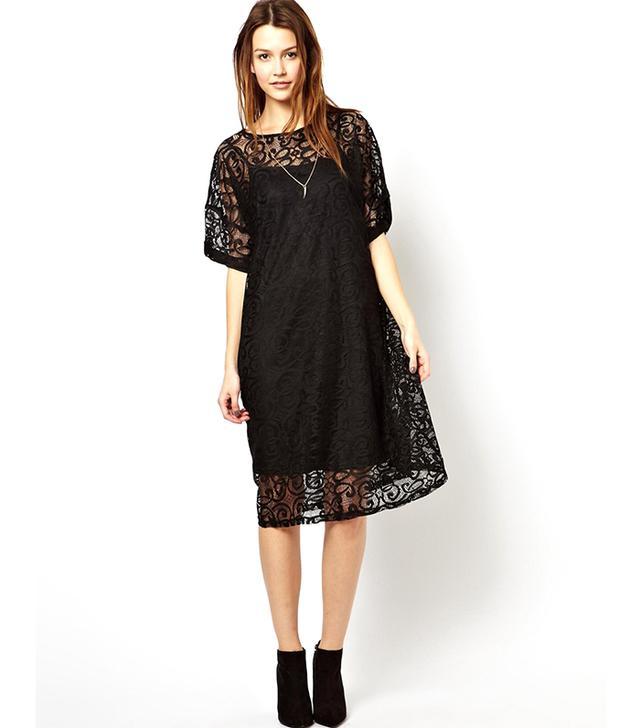 ASOS Midi T-Shirt Dress In Lace