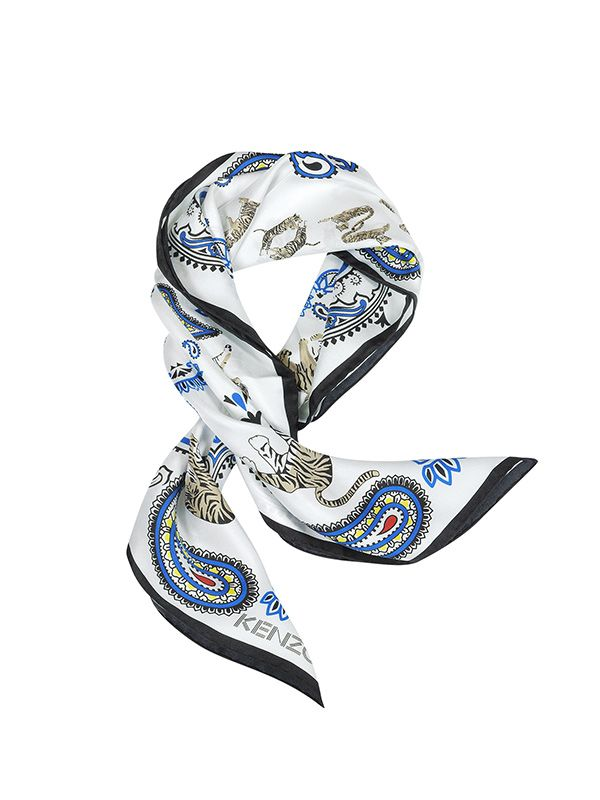Kenzo Pure Silk Tiger and Paisley Print Scarf