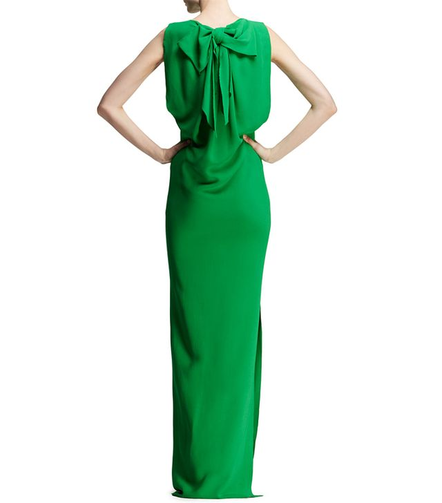 Lanvin Bow-Back Jersey Column Gown