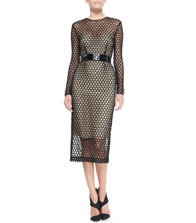 Monique Lhuillier Long-Sleeve Net Lace Midi Cocktail Dress
