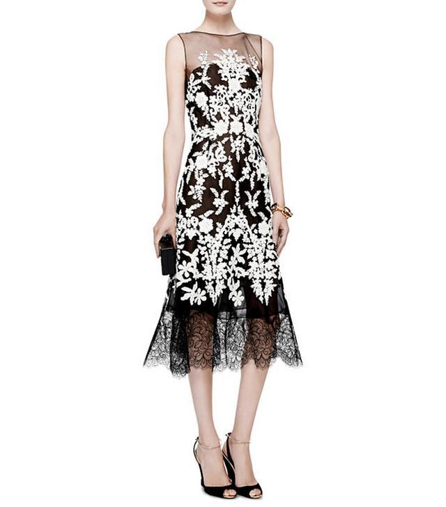 Oscar de la Renta Lace-Trimmed Embellished Tulle Dress