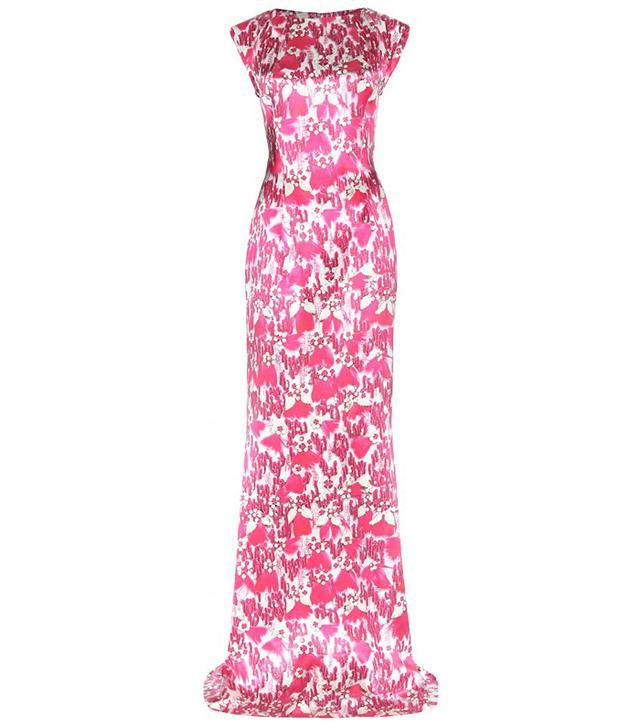 Mary Katrantzou Printed Silk-Satin Gown