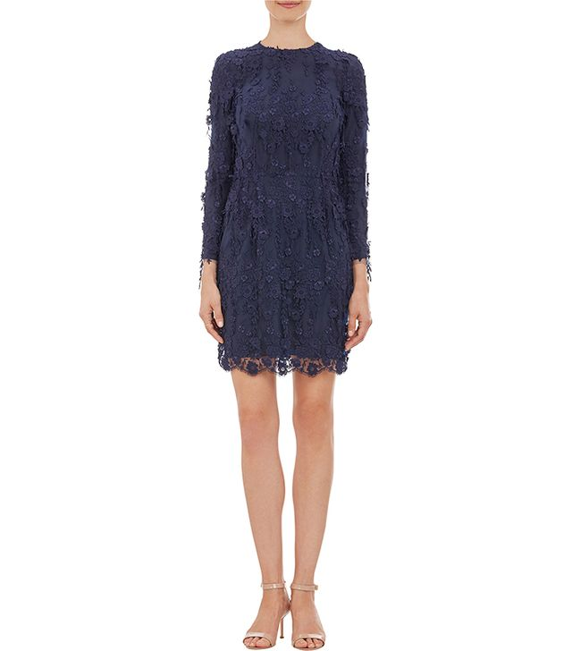 Katie Ermilio Floating Lace Long-Sleeve Cocktail Dress