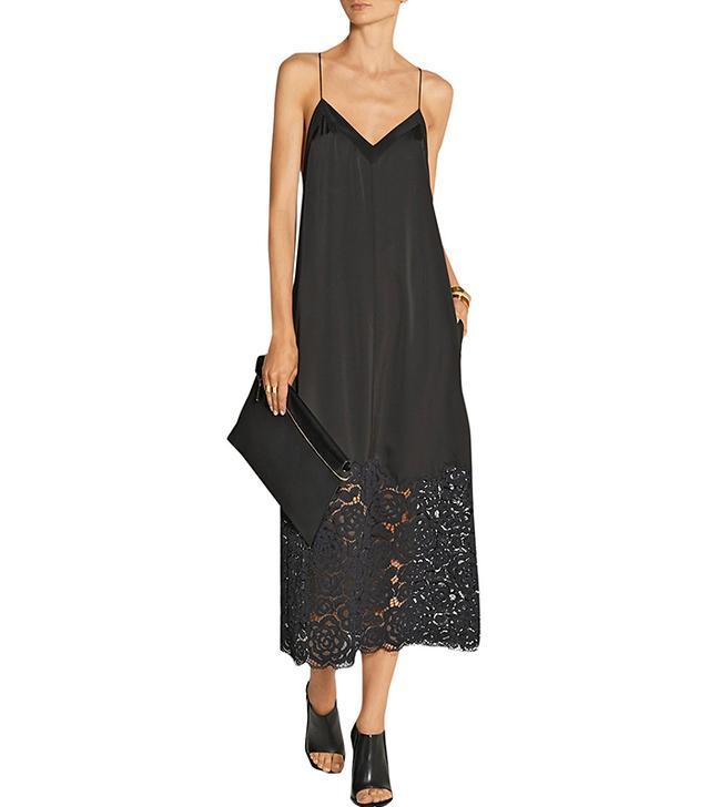 DKNY Lace-Trimmed Satin Midi Dress
