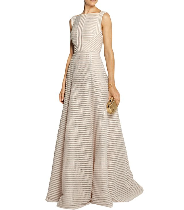 Elie Saab Striped Honeycomb-Mesh and Brushed-Satin Gown