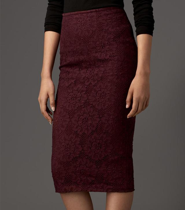 Burberry London Woven Lace Cotton Pencil Skirt
