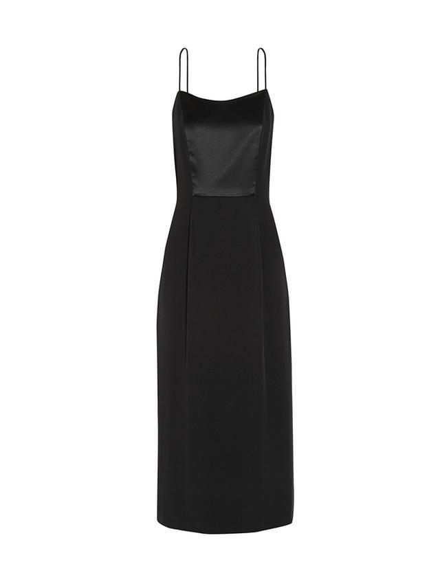 Adam Lippes Satin Paneled Silk-Crepe Midi Dress