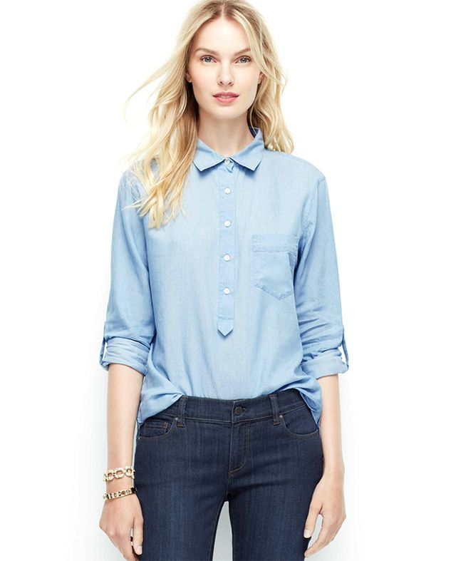 Ann Taylor Chambray Popover Shirt