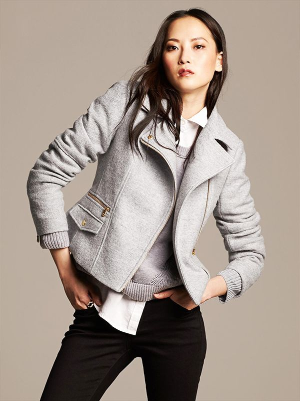 Banana Republic Boiled Wool Moto Jacket