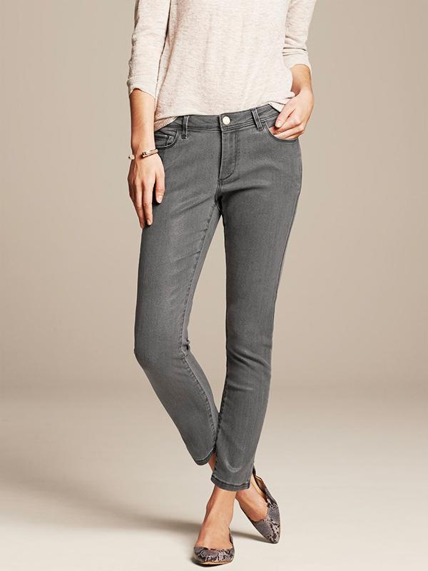Banana Republic Coated Gray Skinny Ankle Jeans