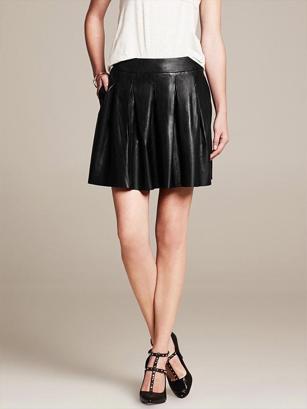 Banana Republic Pleated Leather Skirt