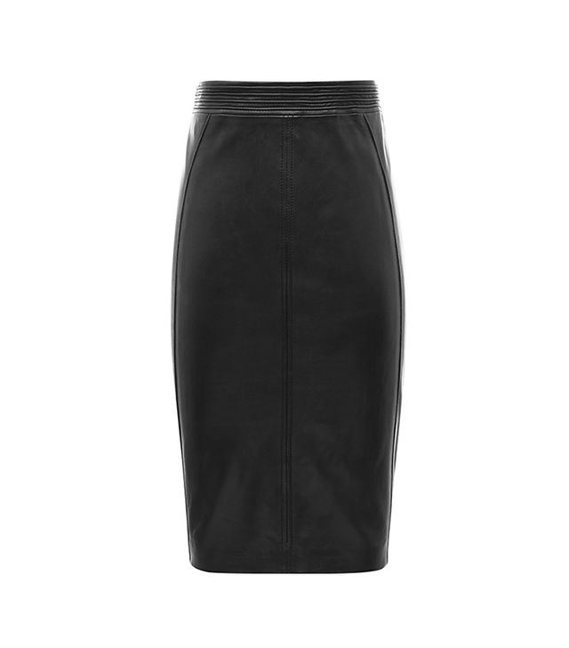 Reiss Claudette Fabric Back Leather Skirt