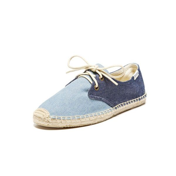 Soludos Color Block Lace Up in Denim Rinse Chambray Blue