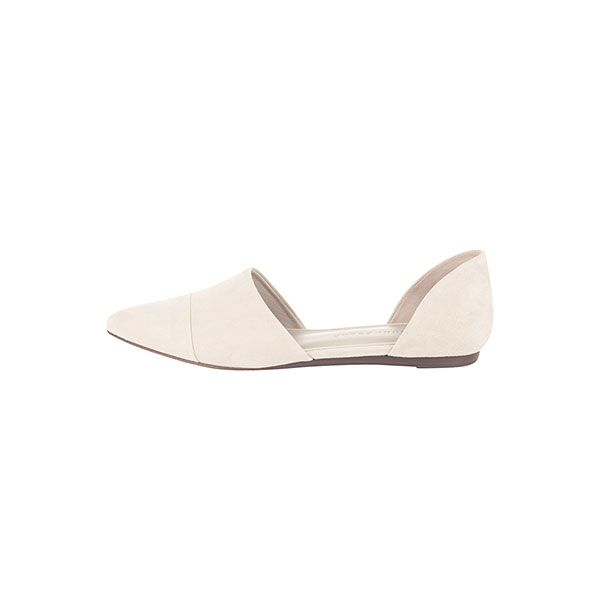 Jenni Kayne Oyster d'Orsay Suede Flat in Oyster Off White Suede