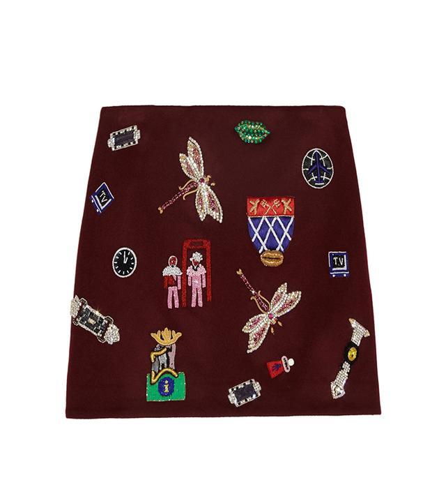 Mary Kantranzou Embellished Wool Mini Skirt in Burgundy