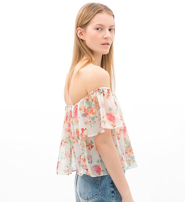 Zara Printed Off-Shoulder Top in Eru